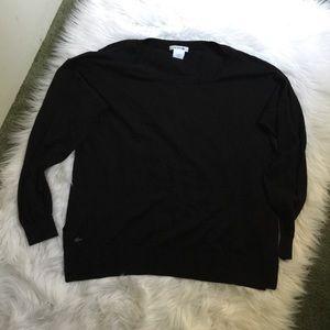 Lacoste basic black long sleeve top